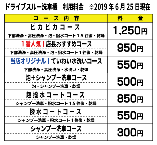 洗車機コース統一(2021.1.15変更)